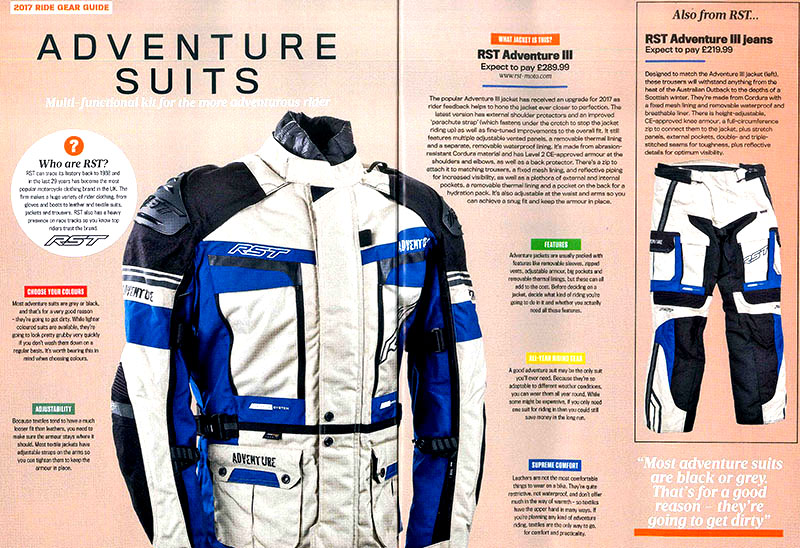 RST Adventure Suit Featured in 2017 Ride Gear Guide | rst